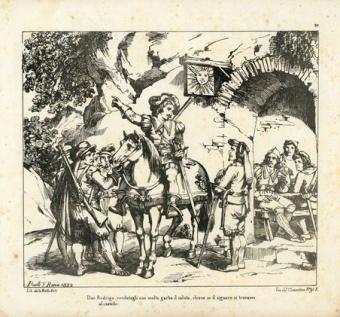 """Don Rodrigo, rendutogli con molto garbo il saluto, chiese se il signore si trovasse al castello.."""""""