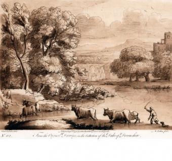 Paesaggio con bestiame che passa un guado