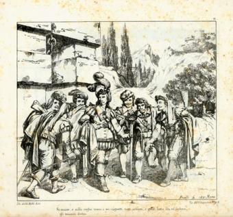 """Si mosse, e sulla soglia trovò I sei cagnotti tutti armati, I quali fatto ala ed inchino gli tennero dietro…"""""""